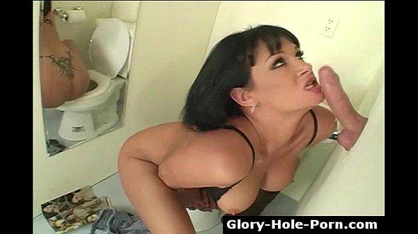Big tits pornstar Tory Lane sucks anonymous dick through gloryhole masturbating