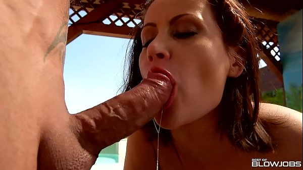 Blowjobs by the pool lead to double dick sucking and cumshots for Madlin