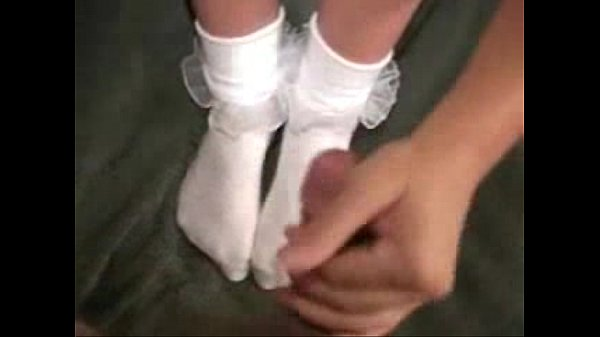 footjob with white frilly socks