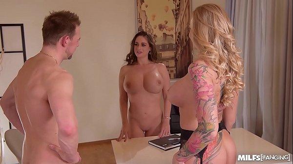 Milfs Cathy Heaven & Kayla Green Get Banged Balls Deep in Office Threesome
