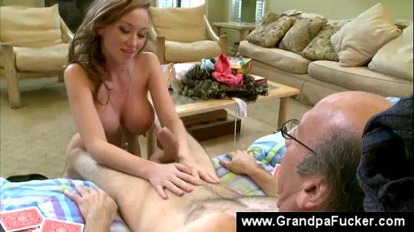 Teenager gives old man a blowjob