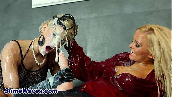 Wet messy gloryhole cum shower lesbians